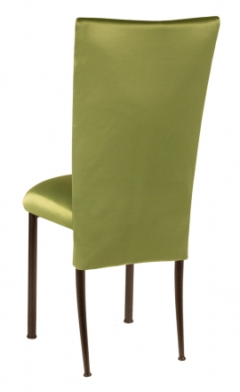 Lime Satin 3/4 Chair Cover and Cushion on Brown Legs (1)