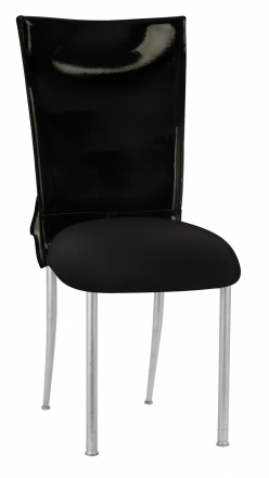 Black Patent Leather Chair Cover with Rhinestone Bow and Black Stretch Knit Cushion on Silver Legs (2)