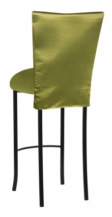 Lime Satin 3/4 Length Barstool Cover and Cushion on Black Legs (1)