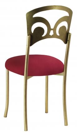 Gold Fleur de Lis with Cranberry Stretch Knit Cushion (1)