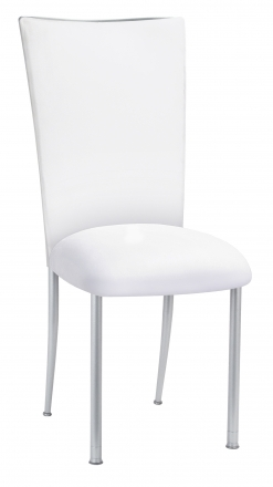 White Suede Chair Cover and Cushion on Silver Legs (2)