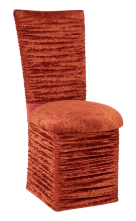 Chloe Paprika Crushed Velvet Chair Cover with Jewel Belt, Cushion and Skirt (2)