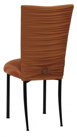 Chloe Copper Stretch Knit Chair Cover with Jewel Band and Cushion on Black Legs (1)