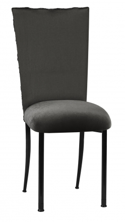 Pewter Circle Ribbon Taffeta Chair Cover with Charcoal Suede Cushion on Black Legs (2)