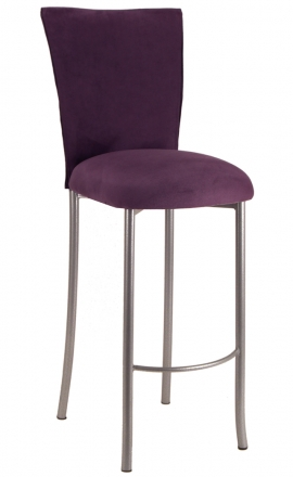 Lilac Suede Barstool Cover and Cushion on Silver Legs (2)