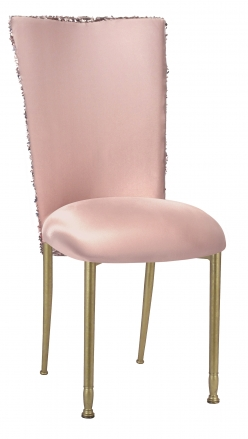 Blush Bedazzled Chair Cover and Blush Stretch Knit Cushion on Gold Legs (2)