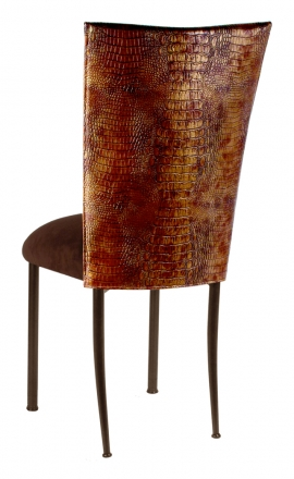 Bronze Croc Chair Cover with Chocolate Suede Cushion on Brown Legs (1)