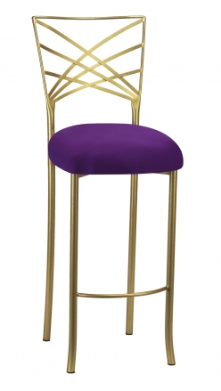 Gold Fanfare Barstool with Plum Knit Cushion (2)