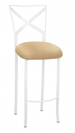 Simply X White Barstool with Toffee Stretch Knit Cushion (2)