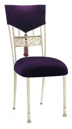 Eggplant Velvet Hat and Tassel with Cushion on Ivory Bella Fleur (2)