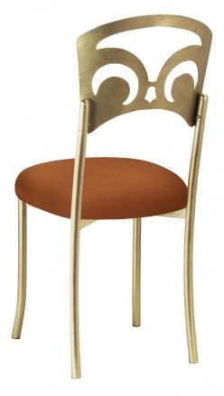 Gold Fleur de Lis with Copper Stretch Knit Cushion (1)