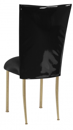 Black Patent Leather Chair Cover with Black Stretch Knit Cushion on Gold Legs (1)