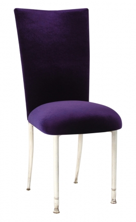 Eggplant Velvet Chair Cover and Cushion on Ivory Legs (2)