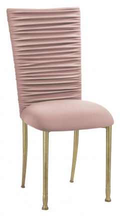 Chloe Blush Stretch Knit Chair Cover and Cushion on Gold Legs (2)
