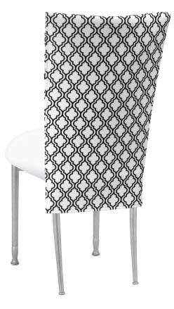 Moderne 3/4 Chair Cover with White Leatherette Cushion on Silver Legs (1)