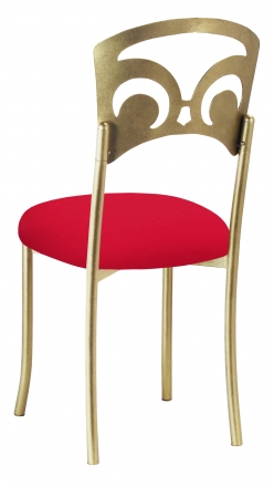 Gold Fleur de Lis with Million Dollar Red Stretch Knit Cushion (1)