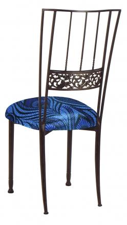 Mahogany Bella Fleur with Blue Purple Peacock Knit Cushion (1)
