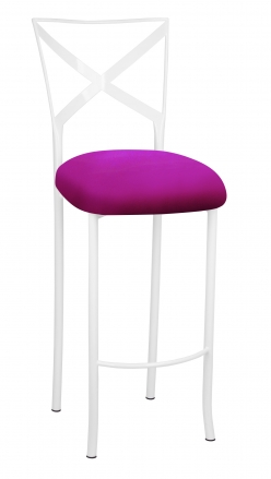 Simply X White Barstool with Magenta Stretch Knit Cushion (2)