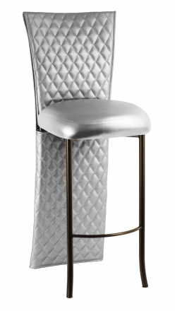 Silver Quilted Leatherette Barstool Jacket with Silver Leatherette Boxed Cushion on Brown Legs (2)