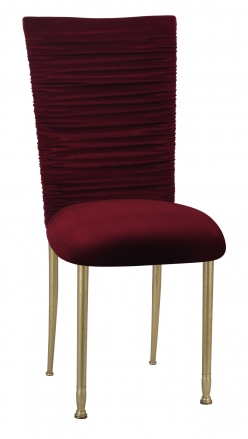 Chloe Cranberry Velvet Chair Cover and Cushion on Gold Legs (2)
