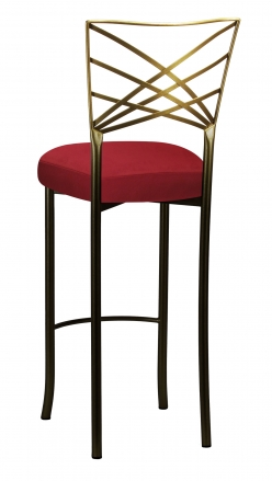 Two Tone Fanfare Barstool with Rhino Red Suede Cushion (1)