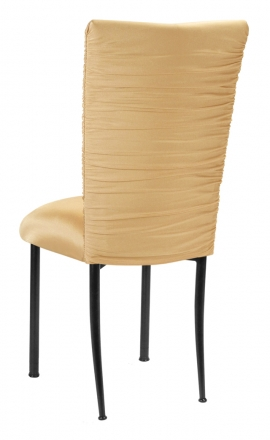 Chloe Gold Chair Cover and Cushion on Black Legs (1)