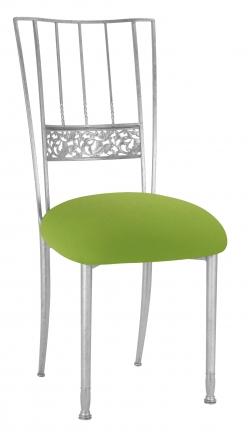 Silver Bella Fleur with Lime Stretch Knit Cushion (2)