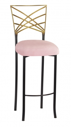 Two Tone Fanfare Barstool with Pink Sparkle Velvet Cushion (2)