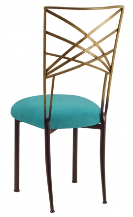 Two Tone Gold Fanfare with Turquoise Suede Cushion (1)