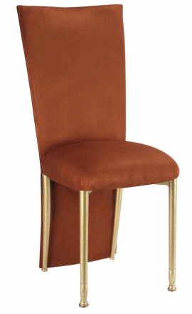 Cognac Suede Jacket and Cushion on Gold Legs (2)