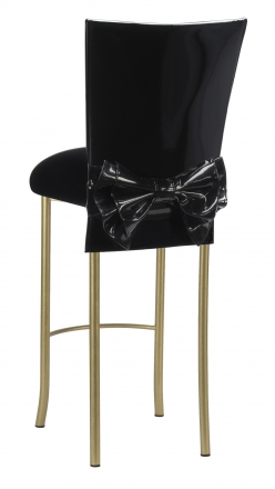Black Patent Barstool Cover with Bow Belt and Cushion on Gold Legs (1)