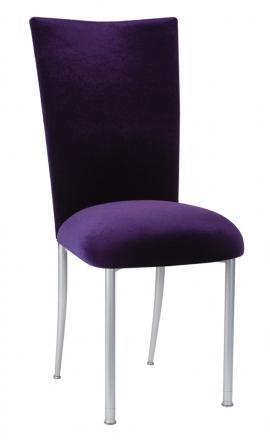 Deep Purple Velvet Chair Cover and Cushion on Silver Legs (2)
