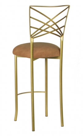 Gold Fanfare Barstool with Camel Suede Cushion (1)