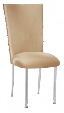 Beige Demure Chair Cover with Beige Stretch Knit Cushion on Silver Legs (2)