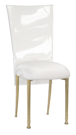 White Patent Chair Cover and Rhinestone Belt with White Stretch Knit Cushion on Gold Legs (2)
