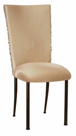 Beige Demure Chair Cover with Beige Stretch Knit Cushion on Brown Legs (2)