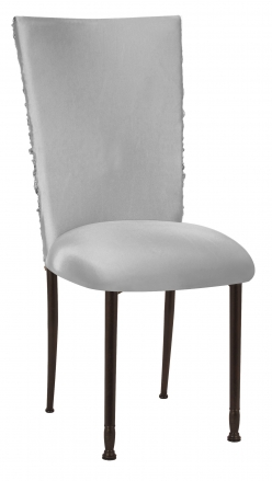 Silver Demure Chair Cover with Jeweled Band and Silver Stretch Knit Cushion on Mahogany Legs (2)