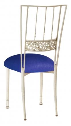 Ivory Bella Fleur with Royal Blue Stretch Knit Cushion (1)