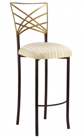 Two Tone Gold Fanfare Barstool with Ivory Sateen Stripe Cushion (2)