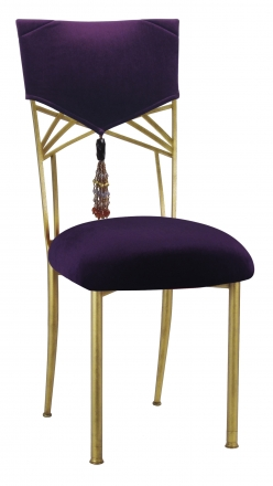 Eggplant Velvet Hat and Tassel Chair Cover with Cushion on Gold Fanfare (2)