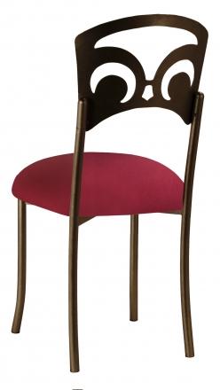 Bronze Fleur de Lis with Cranberry Stretch Knit Cushion (1)