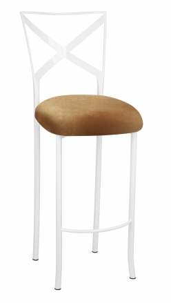 Simply X White Barstool with Gold Velvet Cushion (2)