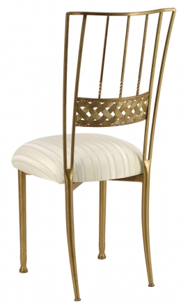 Gold Bella Braid with Ivory Sateen Stripe Cushion (1)