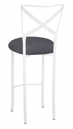 Simply X White Barstool with Charcoal Suede Cushion (1)