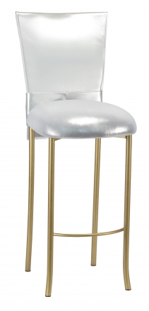 Silver Patent Barstool 3/4 Chair Cover with Rhinestone Accent Belt and Metallic Silver Stretch Knit Cushion on Gold Legs (2)