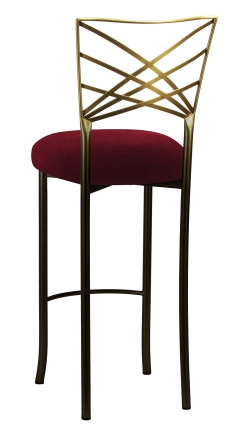 Two Tone Gold Fanfare Barstool with Cranberry Velvet Cushion (1)