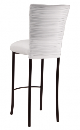 Chloe White Stretch Knit Barstool Cover and Cushion on Brown Legs (1)