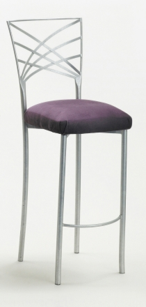 Silver Fanfare Barstool with Lilac Suede Cushion (2)