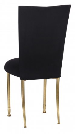 Black Suede Chair Cover and Cushion on Gold Legs (1)