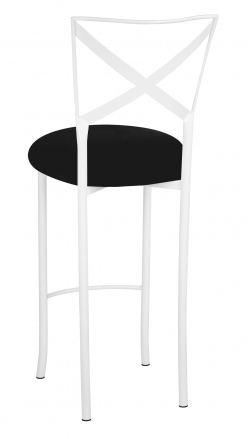 Simply X White Barstool with Black Suede Cushion (1)